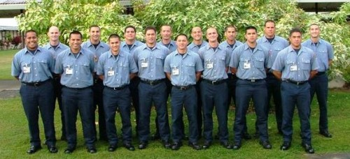 Members of the Hawaii Fire Department's 37th Fire Fighter Recruit Class pose for a class photo.  From left to right:  Eddie Abe, Andrew Penny, Adam Naehu, Kyle Teves, Randy Castro, Marcus Helm, Tay Soares, Helaku Hedlund, Micah Chew-Maarumoto, Kyle Vares, Aaron Mitchell, Jeremy Tekurio, Brysen Heidenfeldt, Yurik Resetnikov, James Kupahu and John Martin.