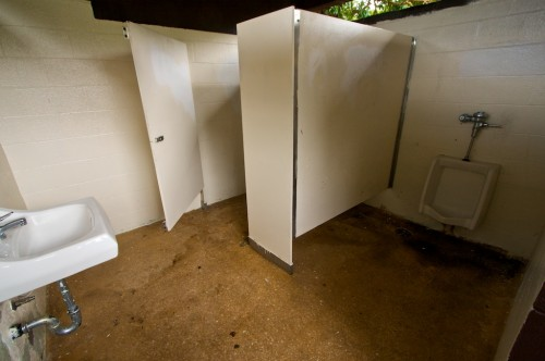 The men's room where DLNR workers encountered fumes from an 'acid bomb' residue. The homemade bombs were found in both mens and womens restrooms.