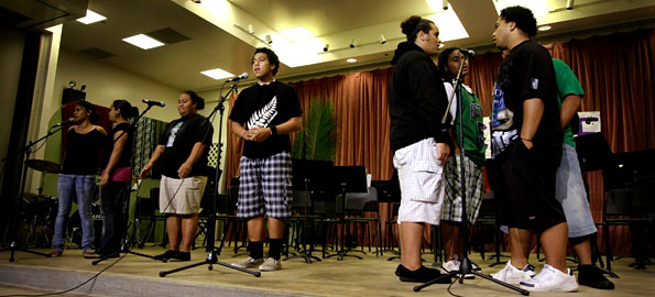 """Keaau High School students sing """"Lean On Me"""" during their PTSA and Band Booster Variety Show."""