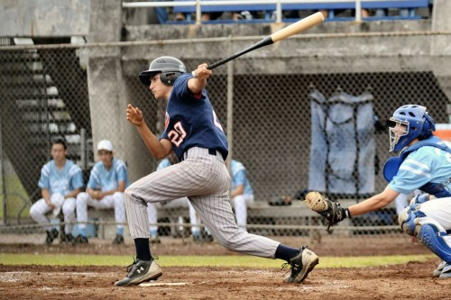 Matthew Vidinha of Keaau gets a basehit to start a late inning rally for the Cougars.
