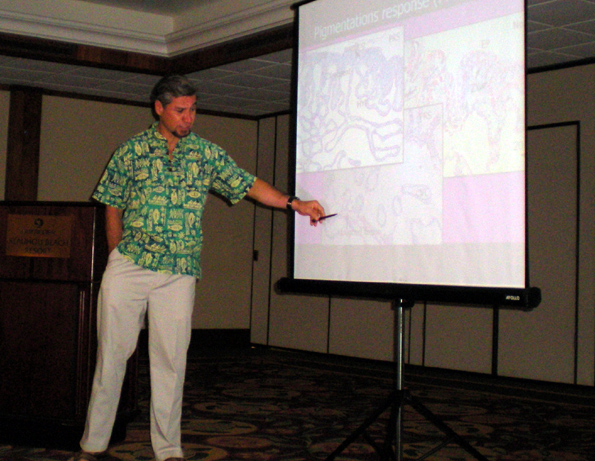 Bernardo Vargas-Angel, NOAA coral reef specialist, talks about parasites that attack coral reefs Wednesday, Feb. 3 at Outrigger Keauhou Beach Resort.