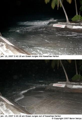The ocean surges out and into Kawaihae Harbor due to the Jan. 13, 2007 Japan earthquake. Click to view bigger image. Photo by Baron Sekiya/Hawaii247.com