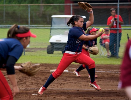 UH-Hilo pitcher Christina Pedroza (17) fires a pitch off the mound against the Lock Haven Eagles during softball action in Hilo. The Vulcan won this second game of doubleheader action 1-0 with Pedroza recording the win.