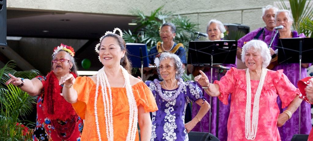 Ke Ola Pono No Na Kupuna performs at the Hawaiian Family AfFair at UH-Hilo Campus Center.