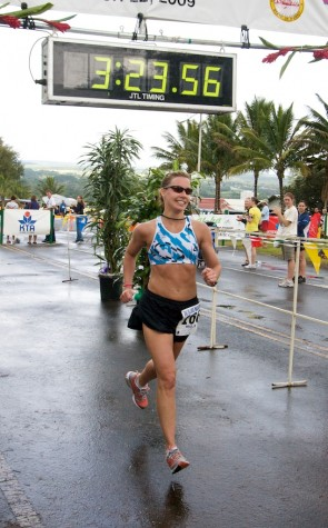 Carmen Pavelich is the first female finisher of the 12th Annual Big Island International Marathon. Pavelich is from Calgary, Canada.