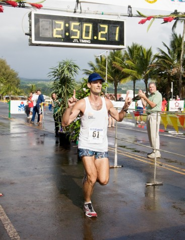 First place male in the Big Island International Marathon is Jason Florimonte of Kaneohe, Oahu.