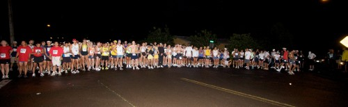 The starting line of the 12th Annual Big Island International Marathon. Click on the image for a larger photo.