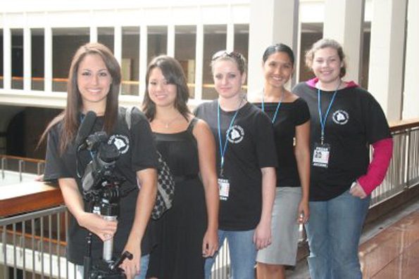Thula Martin, Bailey Wooldridge, Kayleigh Moccio, Gloria Baraquio, Racheal Rivera are members of HAAS Productions who did interviews with Big Island lawmakers for a Capitol film project. (Photo courtesy of Hawaii House Blog)