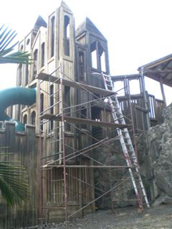 Renovations are nearly complete to the tower at Kamakana Playground. (Photo courtesy of Cliff Kopp)