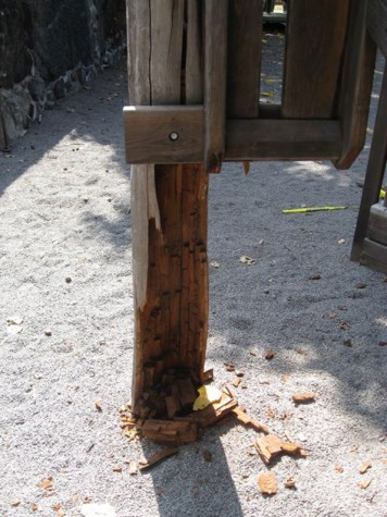 Some the wooden structure has crumbled since it was installed 13 years ago. (Photo courtesy of Cliff Kopp)