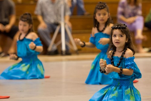 Keiki chant during their performance in the Hoolaulea. Wednesday, there is a free exhibition night at the Edith Kanakaole Tennis Stadium that begins at 6:30 p.m.