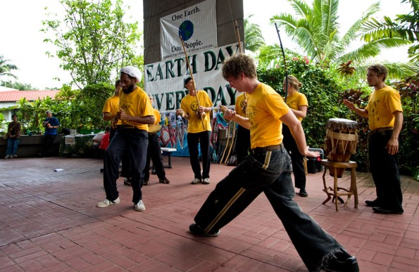 The Capoeira Angola Musica & Movement group performs at the Earth Day Fair by Hawaii Community College on the UH-Hilo campus. The groups uses movement to represent the essence of combat without fighting.