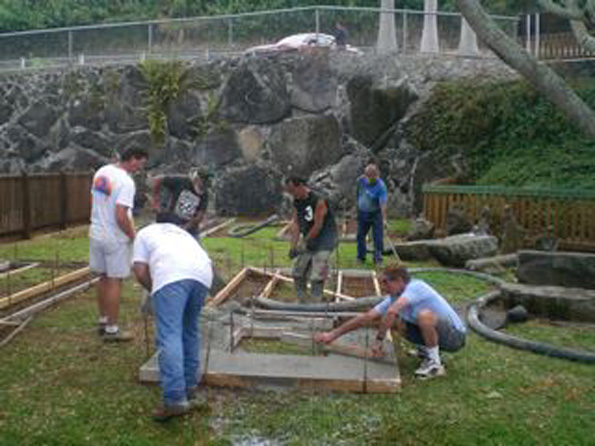 Framing the horse shoe courts - Members of Hawaii Drug Court program working and learning alongside head contractor Bob Lovein. (Hawaii247.com photos courtesy of Cliff Kopp)