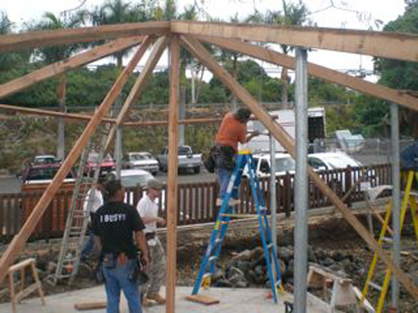 Now the concrete is poured, it's time for  the second pavilion to take shape. Work this weekend was on the roof, with the assistance of the Hawaii Carpenter's Union Apprentice Program.