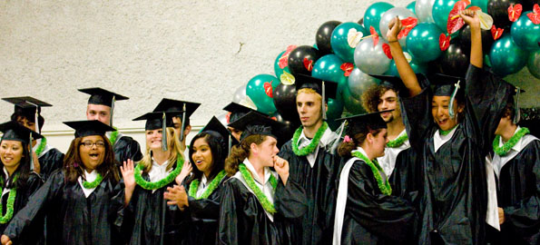 Connections Public Charter School 2009 graduates celebrate during ceremonies at Aunty Sally's Luau Hale.