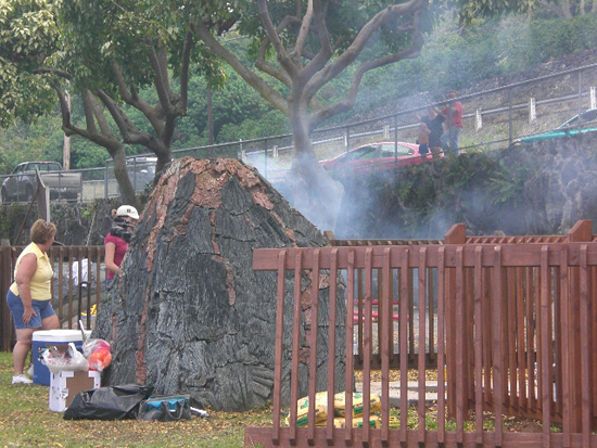 """On day 51 of the renovation, the park volcano let off a little steam,"" Kopp said. ""We view this as a positive omen."" (Photo courtesy of Cliff Kopp)"