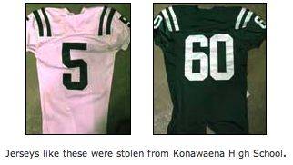 Burglars steal $8,000 of football jerseys from Konawaena