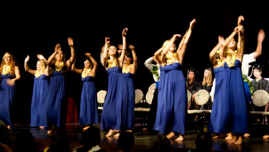 The women of Parker School's class of 2009 perform a hula on stage at Kahilu Theatre.