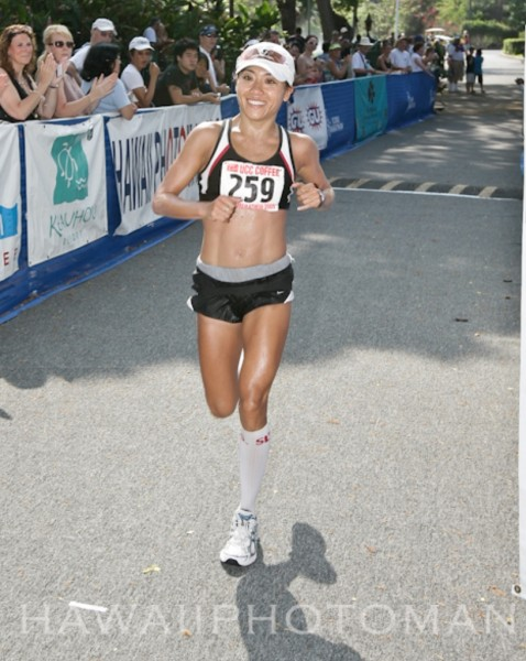 The first female Big Island finisher of the Kona Marathon is Rani Tanimoto of Kealakekua with a time of 3:26:07.