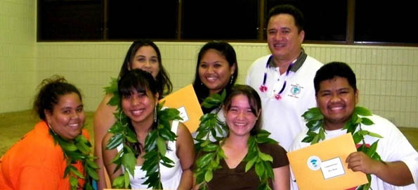 At the Pahoa H.S. awards ceremony: (top left) Tiana-Marie Kahealani Araujo-Thornton, Lei Kyna Ganiron, and Kaleikini; (bottom left), Fuafetoimailelagi-FiaSalemeanai Valinda-Sue Wilson, Krissel, Anne Alcon Lagua, Denarose Fukushima and Rex Fiesta.