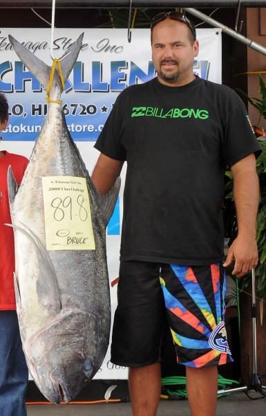 In the Ulua division, Bruce Blythe caught a an 89.7-pound ulua, at 1:30 in the morning on Friday, with his first cast. He was fishing on the southern side of the Big Island and beat out the second place finisher by one tenth of a pound.