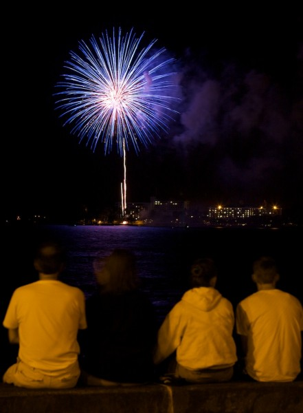 The skyrockets were launched from Mokulua (aka. Coconut Island) Saturday night for the Independence Day celebration.