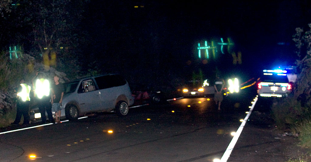 A three car accident closed the Pahoa bound lane in Puna as emergency crews tend to the scene. Photo and video.
