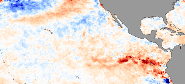 A patch of warmer than average ocean temperatures in the eastern Pacific on July 26, 2009, revealed the onset of El Niño conditions.