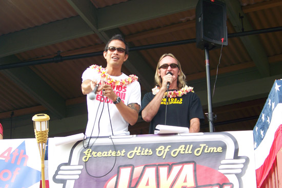 Parade announcers Eddie O and Danny Jesser from radio station LAVA 105.3