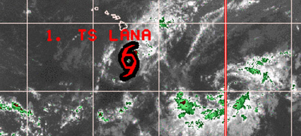 As of 5 p.m. Saturday (Aug 1) Lana is 360 miles south of Hilo with maximum sustained winds of 50 mph with higher gusts. Lana is expected to weaken over the next 24 hours.