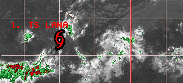 Tropical Depression Lana has passed the Big Island and is about 510 miles South-Southwest of Honolulu. Maximum sustained winds are near 35 mph with higher gusts, some weakening is forecast within 24 hours.