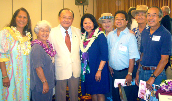 U.S. Sen. Daniel Inouye was guest speaker at the Kona-Kohala Chamber of Commerce luncheon at the Keauhou Beach Hotel. In the photo are  Margaret Masunaga, Deputy Planning Director for the County of Hawaii and Kona Japanese Civic Association board, Alfreida Fujita, KJCA board and Kona Historical Society board, Inouye and his wife, Irene Hirano Inouye, Mrs. Ed Kaneko, Mel Morimoto, KHS Kona Coffee Living History Farm, Ed Kaneko, KJCA board, and Nathan Kurashige, Kona Young Farmers. (Photo courtesy of Margaret Masunaga)