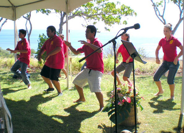 Students from Kanu o Ka Aina New Century Public Charter School perform a hula for Sen. Daniel Inouye and guests to kick off the Pelekane Bay Watershed Restoration Project. (Hawaii247 photo by Karin Stanton)
