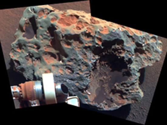 "This view of a rock called ""Block Island,"" the largest meteorite yet found on Mars, comes from the panoramic camera (Pancam) on NASA's Mars Exploration Rover Opportunity. (Photo courtesy of  NASA/JPL-Caltech/Cornell University)"