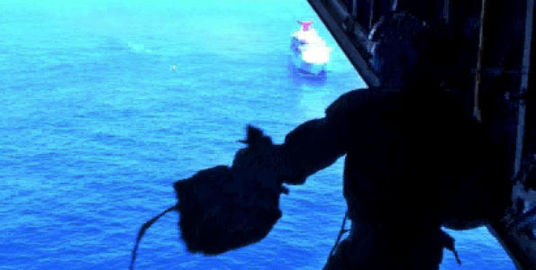 An Air Station Barbers Point C-130 long-range search plane crew air dropped the medication to the cruise ship 200 miles northeast of Oahu at 12:30 p.m. Monday. Video of the air drop.