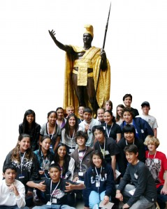 8th GRADE EAST COAST TRIP BRINGS HISTORY TO 'LIFE':  Last year's 2009 Waimea Middle School's 8th Grade East Coast Trippers are picgtured with Hawai'i's spectacular bronze and gold Kamehameha The Great statue, which at the time had only recently been relocated to a more appropriate site near the new Capitol Visitor Center in Washington, D.C.