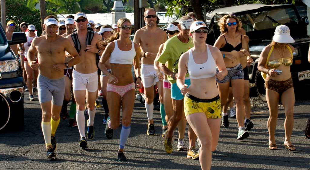 Runners take to the streets of Kailua-Kona for the annual Underpants Run. The fundraiser is traditionally held the Thursday morning before the Ironman World Triathlon Championship.