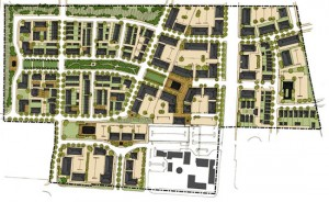 The illustrative plan demonstrates how, in accordance with the regulating plan, the property might build out. (Photo courtesy of PlaceMakers)