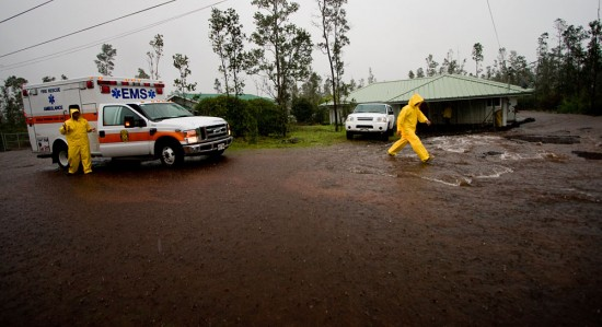 Firefighters arrived on the scene due to flood waters threatening a home in Ainaloa Subdivision Saturday (Nov 14).