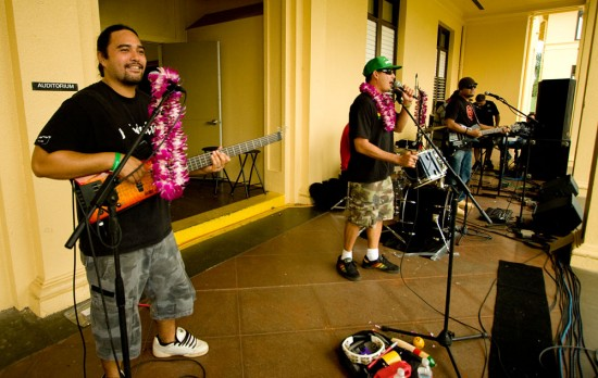 The group 'Revival' takes to the stage at Hilo High School.