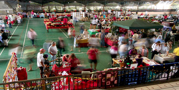 Weekend shoppers enjoyed the crafts fair at Edith Kanakaole Tennis Stadium for holiday gifts. See the video.