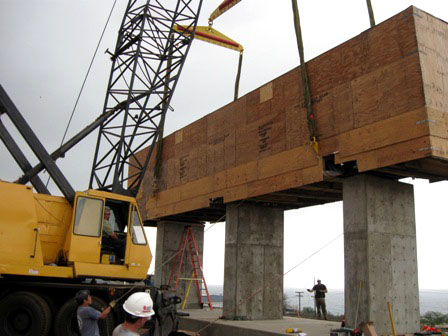 The Big Island Carbon kiln is mounted onto plylons at the project's Kawaihae site.