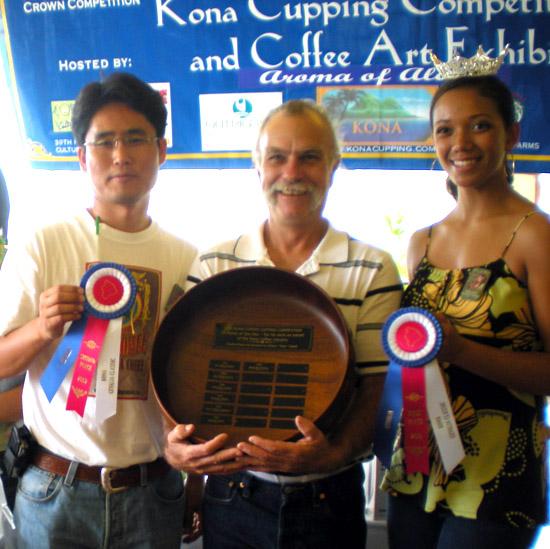 Christopher Kim of Hawaiian King Coffee, Mark Wolf of Wolf Farms and Miss Kona Coffee Wikolia Enos.
