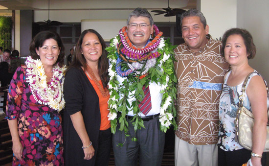 Kubo, Margaret Masunaga, Ed Kubo, Mayor Billy Kenoi, Carol Kitaoka (from left) taken at the Aloha Oe Ed Kubo luncheon Oct. 29 at the Sheraton Waikiki. (Hawaii 24/7 photo special by Margaret Masunaga)