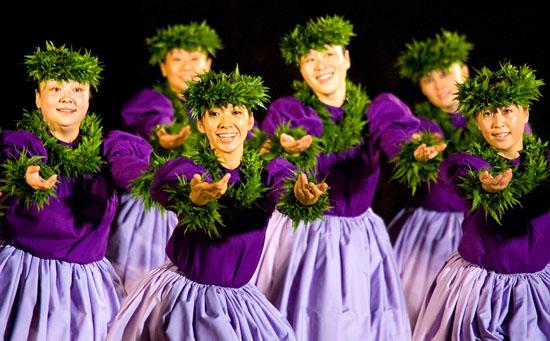 Members of Hula Halau Kahula O Hawaii compete in the 2008 Moku O Keawe Hula Competition. (Photo courtesy of Mike Darden/Moku O Keawe Foundation)