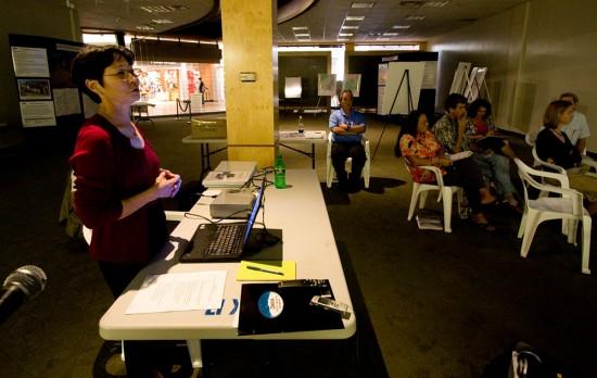 Stephanie Nagata, director of Office of Mauna Kea Management, gives a summary of the latest plans. (Hawaii 24/7 photo by Baron Sekiya)