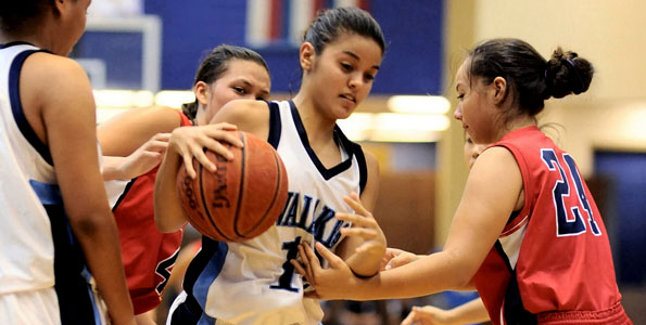 In the final day of the Waiakea Girls Preseason Tournament the action on the court was fast and furious. There were four games played throughout the afternoon ending with Keaau vs. Waiakea game.