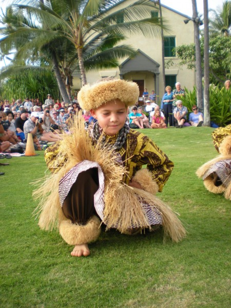 A of the junior kane from Halau Na Pua Ui O Hawaii performs Sunday at Hulihee Palace. (Hawaii 24/7 photo by Karin Stanton)