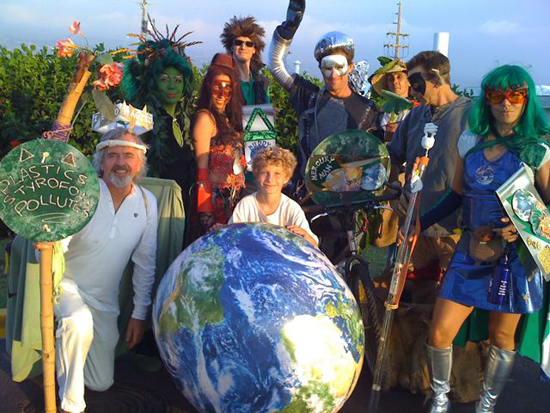 Among the Green Power Heroes who swooped in to deliver their ecology message were Sir Zero Wasted, Back to the Green, Crimson Tide, Buddy Biomass, Mercury Man, Anti-GMO Man, Mighty Mene Man, Green Power Girl, and Ezra. (Hawaii 24/7 photo courtesy of Andrea Dean)