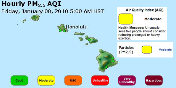 The PM2.5 level recently recorded over a 24-hour period at the DOH air monitoring station located in Kona exceeded the National Ambient Air Quality Standard.